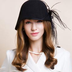 Dames Magnifique Coton avec Feather Chapeau melon / Chapeau cloche