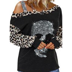 lampart Skull Head Na jedno ramię Długie rękawy T-shirty