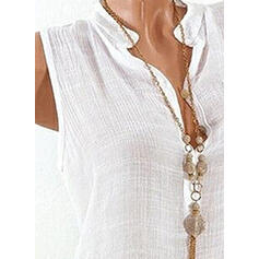 Solid V-Neck Sleeveless Button Up Casual Shirt Blouses
