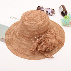 Ladies' Classic/Handmade Cambric/Lace With Silk Flower Beach/Sun Hats