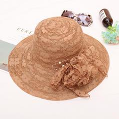 Dames Style Classique/Fait main Batiste/Dentelle avec Fleur en soie Chapeaux de plage / soleil