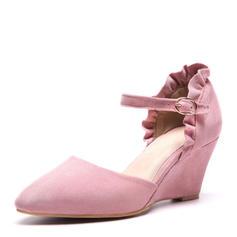 Frauen Veloursleder Keil Absatz Sandalen Keile mit Geraffte Schuhe