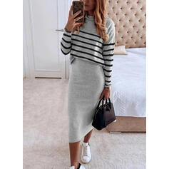 Gestreept Lange Mouwen Bodycon Potlood Elegant Medium Jurken