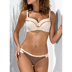 Solid farve Lav talje Strop V-hals Sexet Frisk Attraktiv Bikinier Badedragter