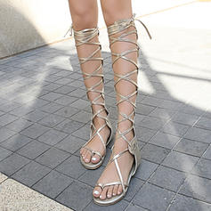 Women's Leatherette Flat Heel Sandals Flats Peep Toe With Lace-up Hollow-out shoes