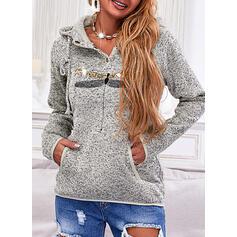 Print Sequins Hooded Long Sleeves Hoodie