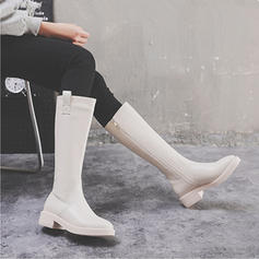 Women's Leatherette Low Heel Boots Knee High Boots Riding Boots With Zipper shoes