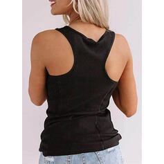 Solide Ronde Hals Mouwloos Dichtknopen Casual Basic Tanks