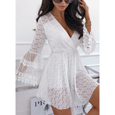 Lace/Solid/Hollow-out Long Sleeves/Flare Sleeves A-line Above Knee Casual Skater Dresses