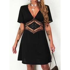 Solid Mâneci Scurte Bir Çizgi Deasupra Genunchiului Negre/gündelik Patenci Elbiseler