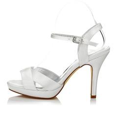 Frauen Satin Stöckel Absatz Sandalen Slingpumps Färbbare Schuhe