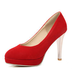 Women's Suede Stiletto Heel Pumps Platform Closed Toe shoes