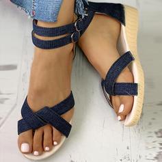 Dla kobiet Dżinsowa Niski Obcas Sandały Otwarty Nosek Buta Z Klamra Zamek błyskawiczny obuwie