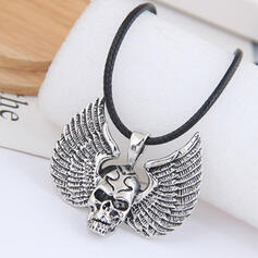 Skull Wings Shaped Halloween Alloy Braided Rope Necklaces