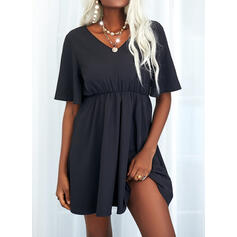 Solid 1/2 Sleeves A-line Above Knee Little Black/Casual Dresses