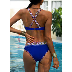High Waist Print Halter Sexy Boho Bikinis Swimsuits