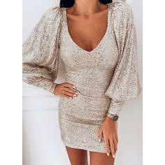 Sequins Long Sleeves Bodycon Above Knee Party Dresses
