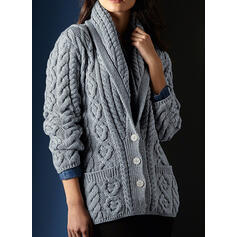 Solid Cable-knit Pocket V-Neck Casual Cardigan