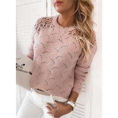 Solid Lace Round Neck Casual Sweaters