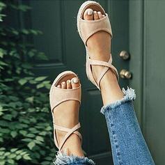 Femmes PU Talon plat Sandales Chaussures plates avec Dentelle chaussures