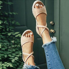 Frauen PU Flascher Absatz Sandalen Flache Schuhe mit Zuschnüren Schuhe