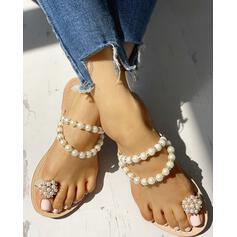 Mulheres PVC Sem salto Sandálias Peep toe Chinelos com Strass Pérola Imitação sapatos