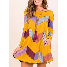Χρωματιστό Μπλοκ Μακρυμάνικο Αμάνικο Μήκος Γόνατος Καθημερινό Сукні