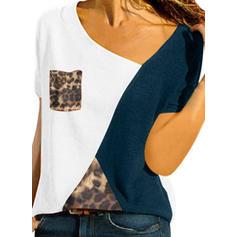 Color Block V-Neck Short Sleeves Casual Knit T-shirt