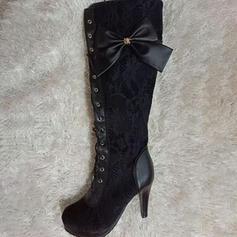 Mulheres Couro Salto robusto Bombas Botas com Bowknot Laço costurado sapatos