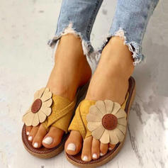 Frauen Stoff Flascher Absatz Sandalen Flache Schuhe Peep Toe mit Blume Schuhe