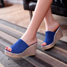Frauen Veloursleder Keil Absatz Sandalen Keile Pantoffel mit Andere Schuhe