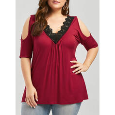 Solid Lace Cold Shoulder 1/2 Sleeves Casual Plus Size Blouses