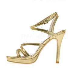 Women's Leatherette Stiletto Heel Sandals Platform Peep Toe With Buckle shoes
