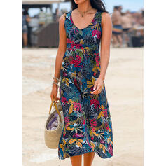 Print Sleeveless Shift Tank Casual/Vacation Midi Dresses