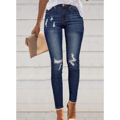Shirred Ripped Long Elegant Sexy Skinny Denim & Jeans