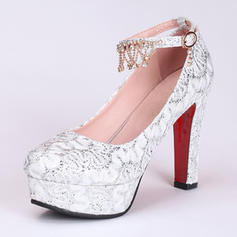 Women's Leatherette Chunky Heel Closed Toe Platform Pumps With Imitation Pearl Sequin