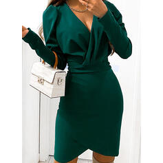Solid Long Sleeves/Puff Sleeves Bodycon Above Knee Little Black/Party/Elegant Dresses