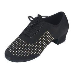 Women's Satin Heels Pumps Swing Practice With Rhinestone Dance Shoes