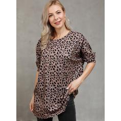 λεοπάρδαλη Kerek nyak Hosszú ujjú Hétköznapokra robić na drutach πουκαμίσες