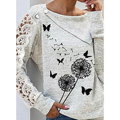 Animal Print Lace Dandelion Round Neck Long Sleeves Button Up Casual Blouses