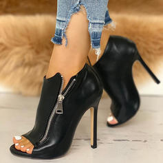 Women's PU Stiletto Heel Sandals Pumps Peep Toe With Zipper shoes