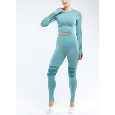 Round Neck Long Sleeves Striped Sports Leggings