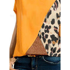 Leopard Short Sleeves Casual T-shirts