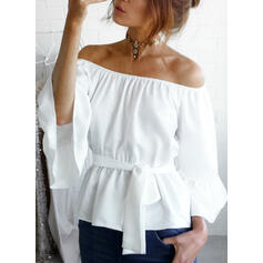 Solide Off the Shoulder Flare Mouw 3/4 Mouwen Casual Blouses