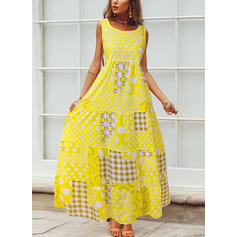 PolkaDot/Plaid/Patchwork Sleeveless A-line Casual/Vacation Maxi Dresses