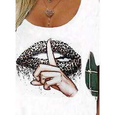 Leopardo Impresión Top Con Hombros Mangas 1/2 Camisetas