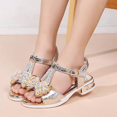 Girl's Leatherette Peep Toe Sandals Flats With Bowknot Crystal Button