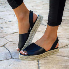 Kvinnor PU Flat Heel Sandaler Platta Skor / Fritidsskor Peep Toe med Andra skor