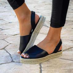 Frauen PU Flascher Absatz Sandalen Flache Schuhe Peep Toe mit Andere Schuhe