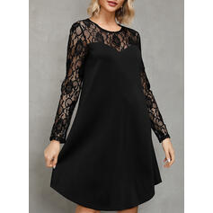 Lace/Solid Long Sleeves Shift Knee Length Little Black/Casual/Elegant Dresses